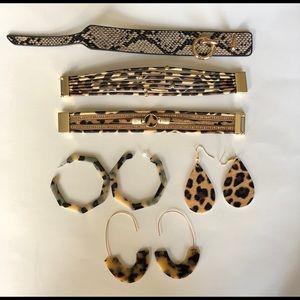 Leopard print bracelets & hoop dangle earrings.